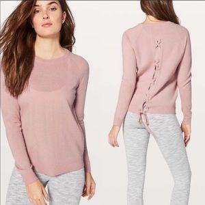 Lululemon tied to you merino wool sweater pink